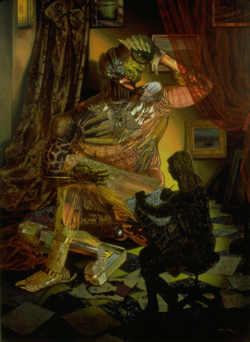 "Ignis Fatuus, 1996, acrylic, oil, collage on linen, 64"" x 45"""