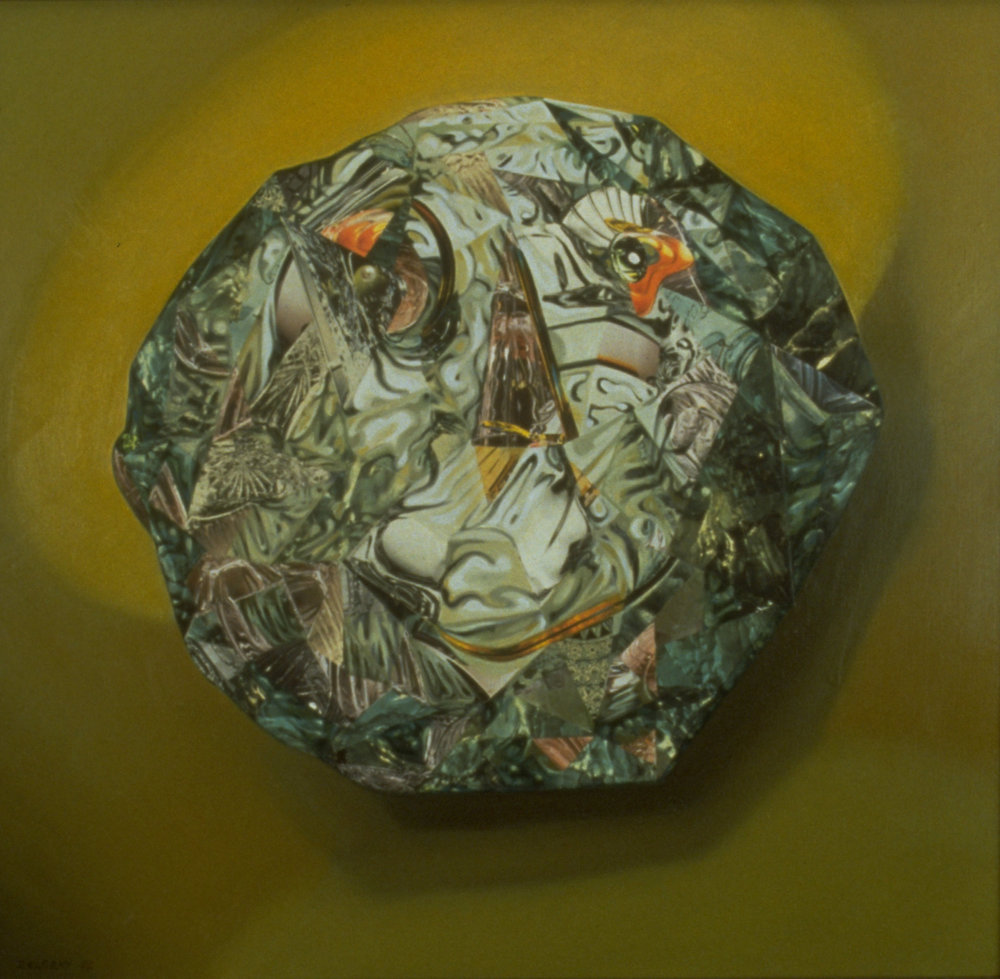 "Old Sweethearts 2, 1992, oil, collage on canvas, 36"" x 38"""