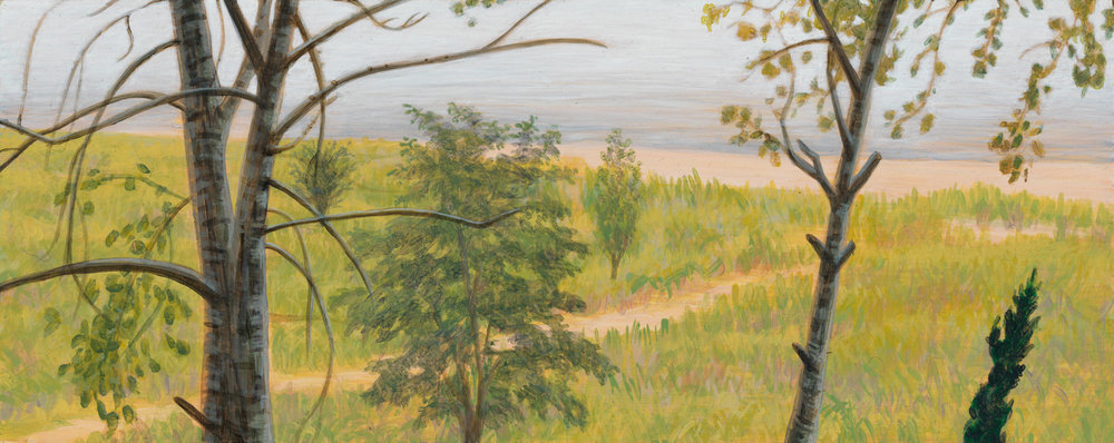 "Michigan Landscape 3, 1997, acrylic on panel, 4"" x 10"""