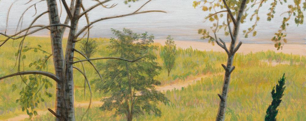 "Michigan Landscape 3, 1997, acrylic on panel, 4"" x 10"""