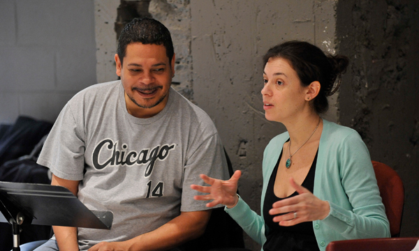 Edward Torres and Quiara Alegria Hudes at rehearsals for World Premiere of  The Happiest Song Plays Last  at The Goodman Theatre   License Play