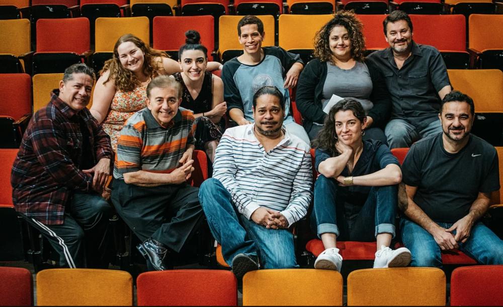 The Happiest Song Plays Last creative team (from l to r): Jessica Wolinsky (Asst Director), Vaneh Assadourian (Shar), Peter Pasco (Elliot),Elisa Bocanegra (Yaz), Al Rodrigo (Agustín), John Seda-Pitre (Lefty), Nelson Gonzalez (Guest Musician), Edward Torres (Director), Quiara Alegría Hudes (Playwright), and Kamal Marayati (Ali).