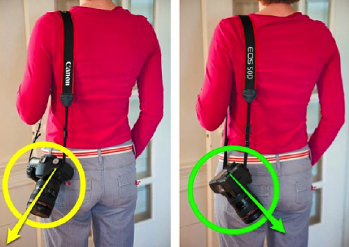 c/o http://oneslidephotography.com/how-to-safely-carry-your-camera/