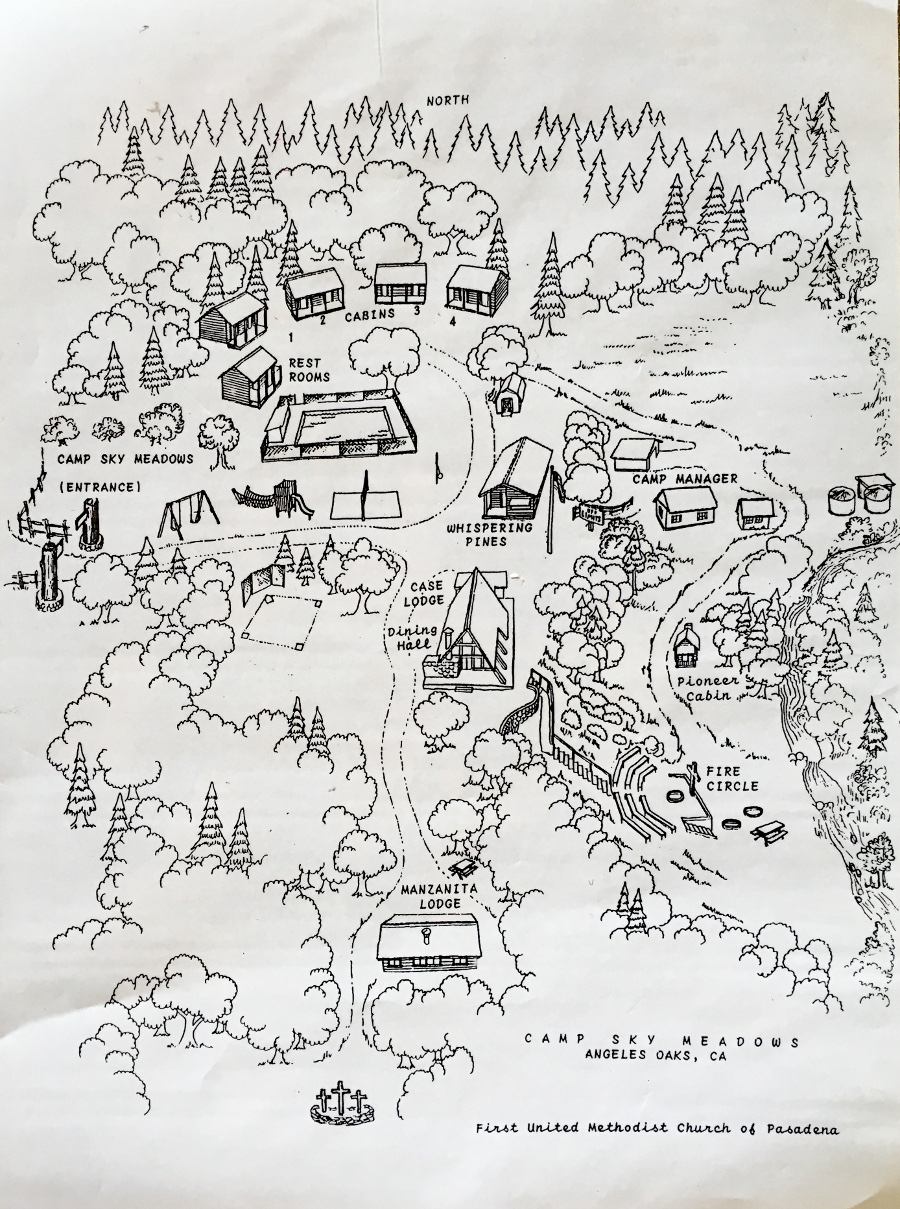 Poster - This poster shows the four cabins in the upper camp area, the Pool, Whispering Pines Lodge and the Case Lodge Dining Room in the center of the camp, and Manzanita Lodge in the lower camp area. Note also the fire circle down a hill on the right side of this poster.