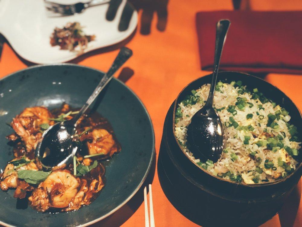 Main dish + side- Chilli Shrimp & Fried Rice