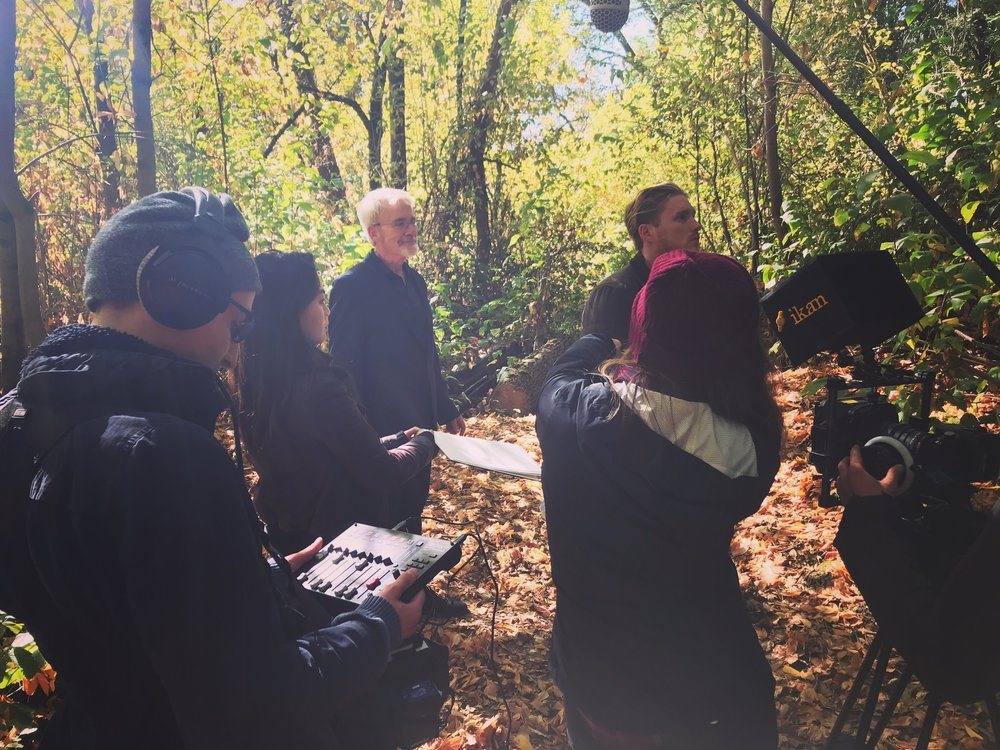 """Production Sound Mixer for Cassidy Kamada's senior thesis film """"Doubting Thomas,"""" filming in Northern California in October 2017."""