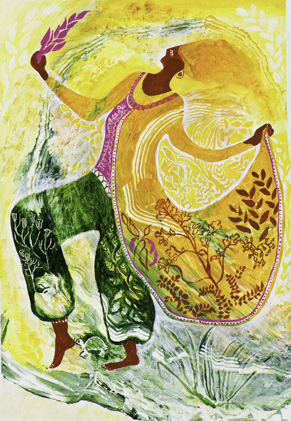 """Curry Queen"" by Gretchen Butler - Painted in Turmeric & Healing Spices"
