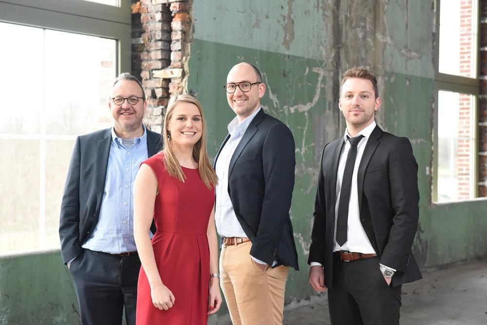 Onze experten in fiscaliteit: David Engelbos, Astrid Swennen, Jonas Peeters en Tim Vandeweyer.