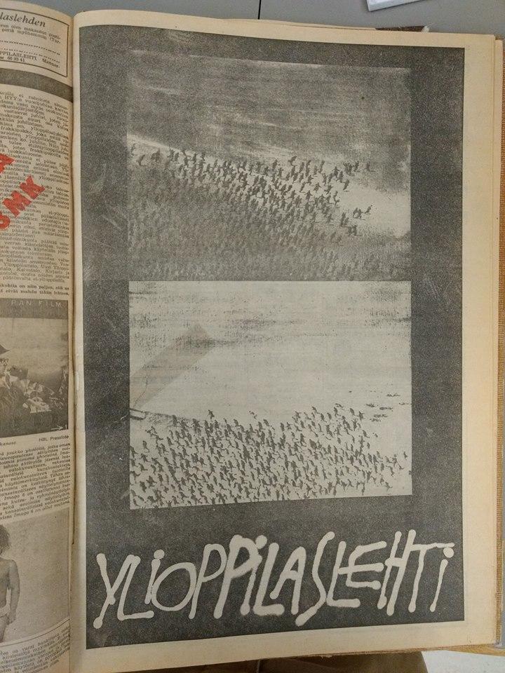Satavuotiaassa ylioppilaskunnassa kuohui, kun opiskelijat valtasivat Vanhan ylioppilastalon. Kuvassa Ylioppilaslehden vallankumousnumeron kansi vuodelta 1968.  Kuva:Kuva: Ylioppilaslehti no. 33-34/1968, kansi.