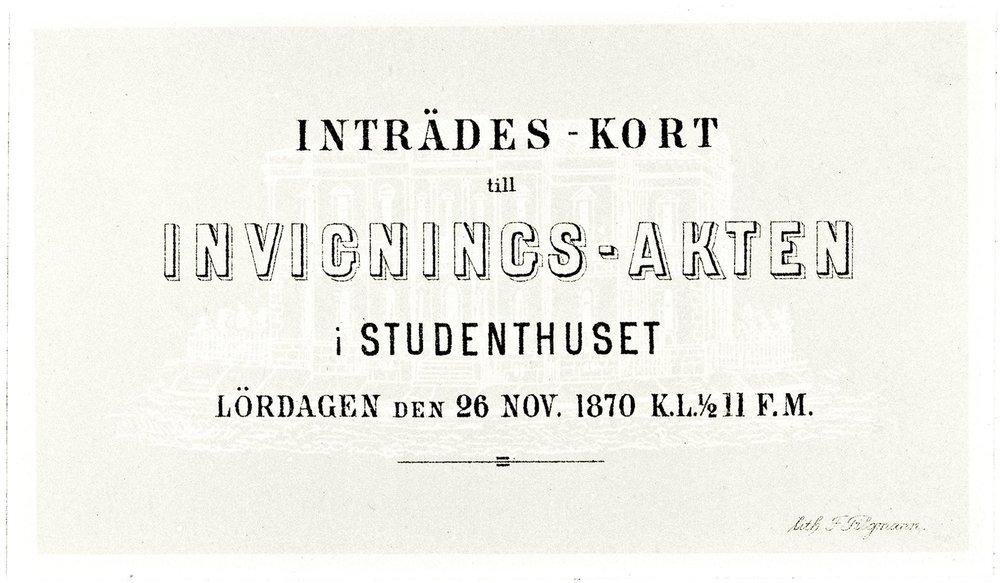 HYY perustettiin vuonna 1868. Kaksi vuotta myöhemmin valmistunutta Vanhaa ylioppilastaloa juhlittiin niin rankasti, että ylioppilaskunta peri jäseniltään ylimääräisiä maksuja seuraavan neljän lukukauden ajan kattaakseen vihkijäisjuhlista aiheutuneet kulut.  Kuva: Helsingin yliopistomuseon jäljennös.
