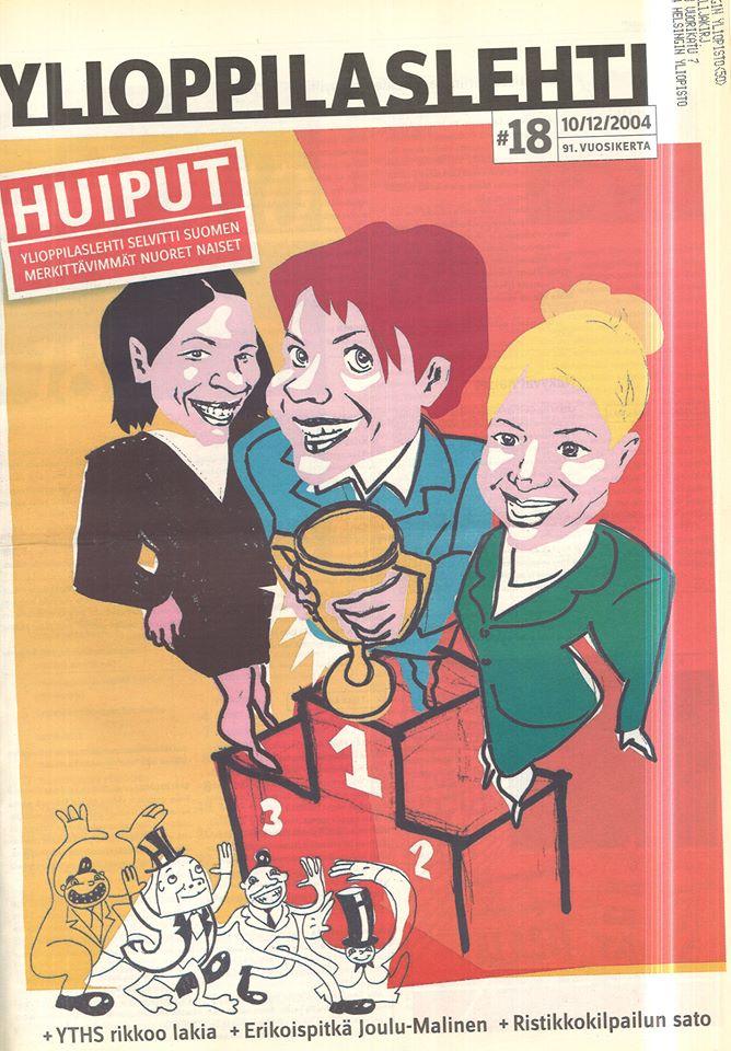 Vuosien varrella Ylioppilaslehti on siirtynyt miesnäkökulmasta kohti tasa-arvoa. Lehti listasi Suomen vaikutusvaltaisimmat nuoret naiset vuonna 2004.  Kuvan tiedot: Ylioppilaslehti 18/2004