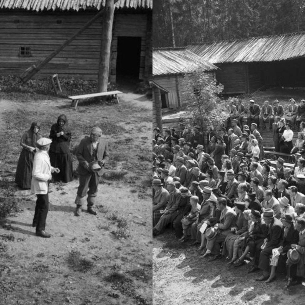 Kesäteatterituotannot kuuluvat Ylioppilasteatterin perinteisiin. Tänä päivänä kesäteatteri sijaitsee Mustikkamaalla, mutta vuonna 1939 näyttämönä toimivat Seurasaaren maalaistalot.  Kuvat: Eino Nikkilä/Kansallismuseon kokoelmat (1939)