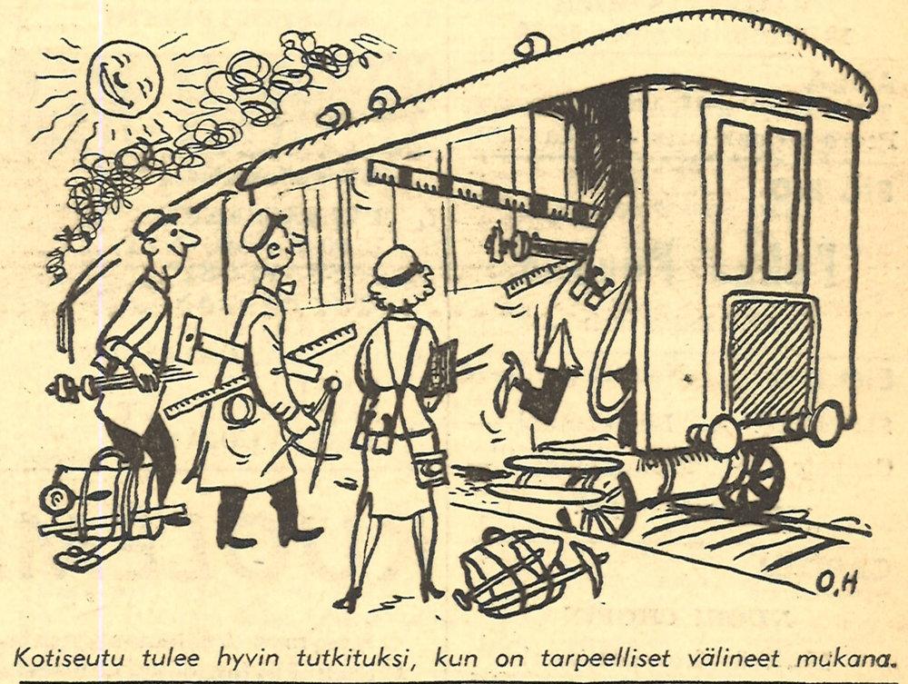 Kotiseutu on myös suosittu tutkimuskohde. Kansantieteilijöiden ohella mm. osakunnat ja yritykset ovat tehneet keruu- ja tutkimustyötä opiskelijoiden kotiseuduilla. Ylioppilaslehdessä kuvattiin innokkaita kotiseutututkijoita vuonna 1953.  Kuva: Ylioppilaslehti Nro. 20 / 22.5.1953