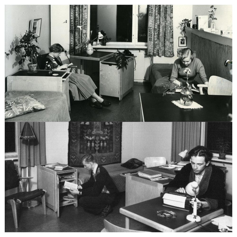 Perheasuntoja lukuun ottamatta Domman taloissa vallitsi tiukka sukupuolijaottelu: naisoletetut opiskelijat asuivat omalla puolellaan ja miesoletetut omallaan.  Kuvat: HYYn arkisto (1950-luku)