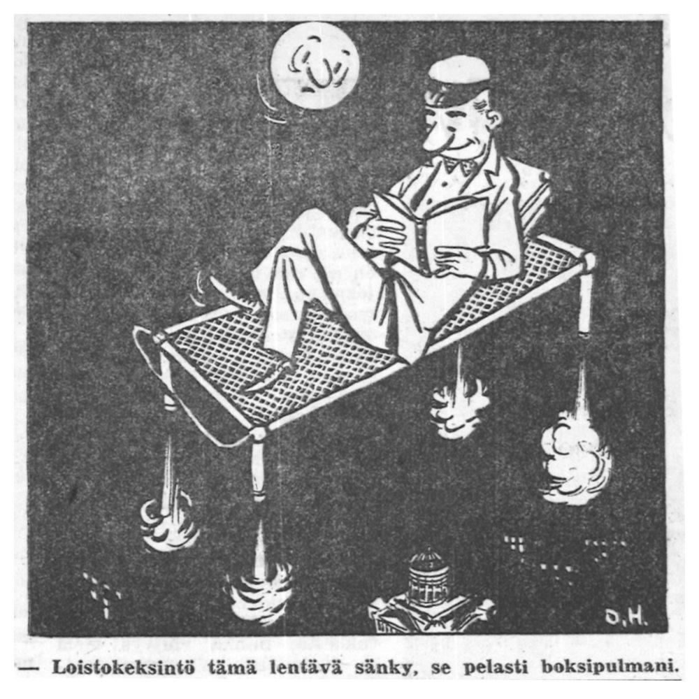 """Opiskelija-asunnoista oli edelleen pulaa 1950-luvulla Domman valmistumisesta huolimatta. """"Boksipulmasta"""" vitsailtiin myös Ylioppilaslehden pilapiirroksessa.  Kuva: Ylioppilaslehti (10.9.1954)"""