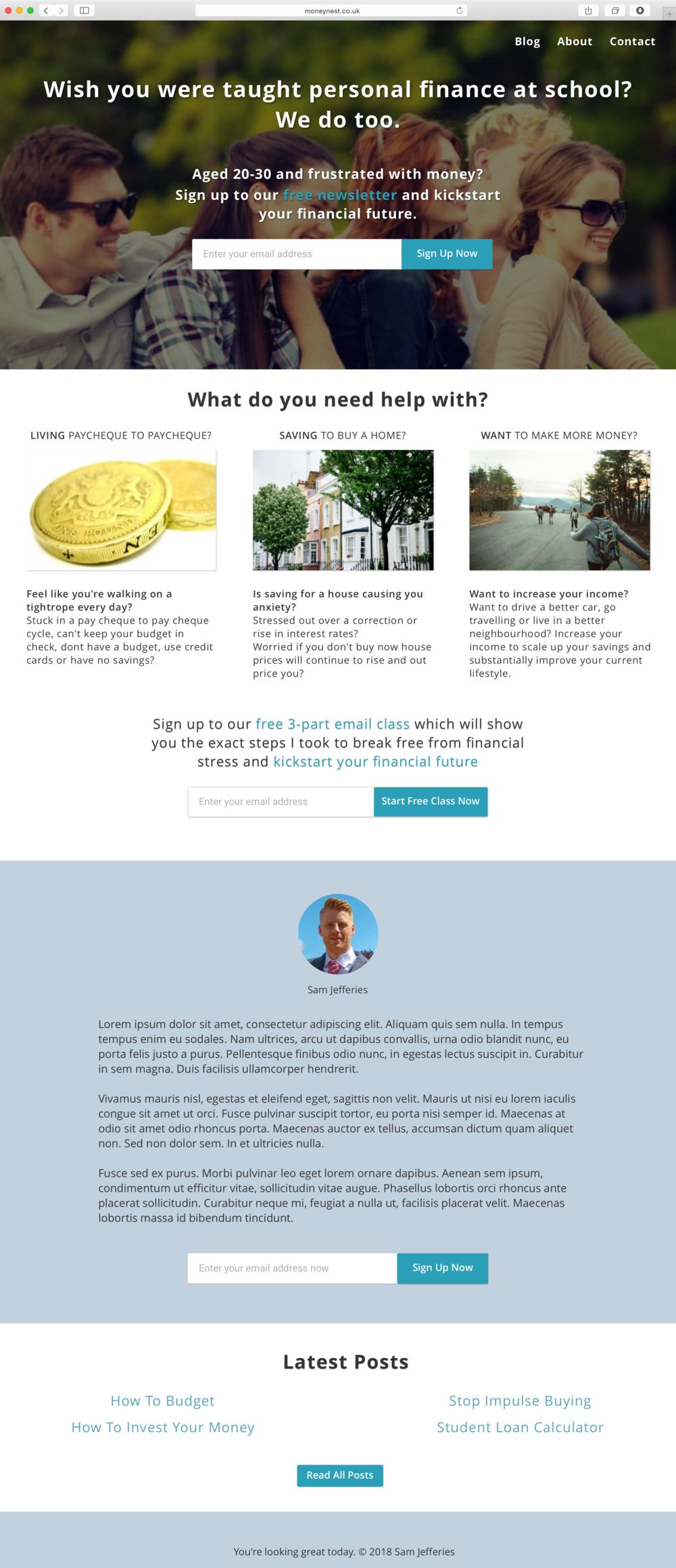 Moneynest homepage prototype