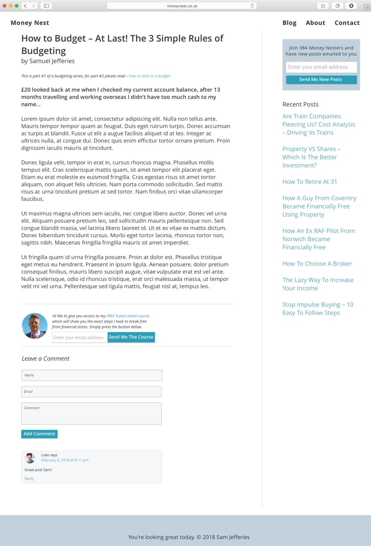 Moneynest blog page prototype
