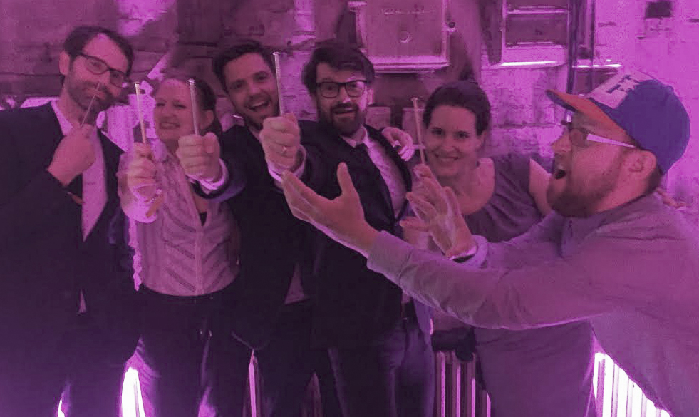 Image at ADC gala after the campaign won ADC Award   Anna-Lena Meyer  - Art Buyer (second from the right)  Manuel Wolff  - Senior Art Director (third from the left)   Joelle Timores  - Account Executive (second from the left)