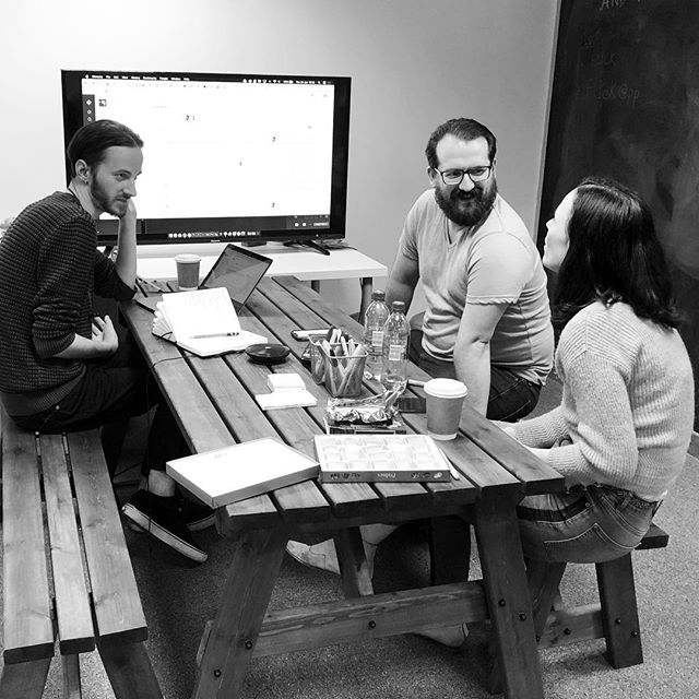 Team huddle to flesh out some new ideas 💡