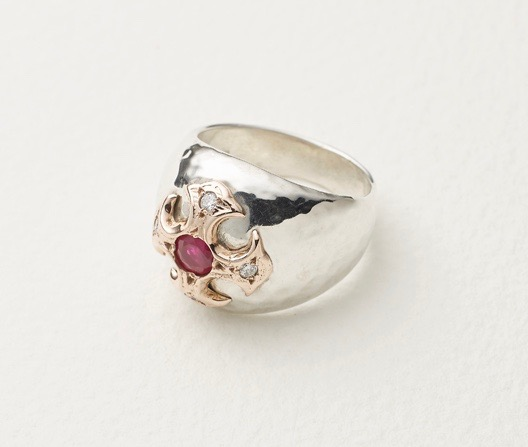 The Bishop' sterling silver ring set ruby and diamonds in onlaid rose gold
