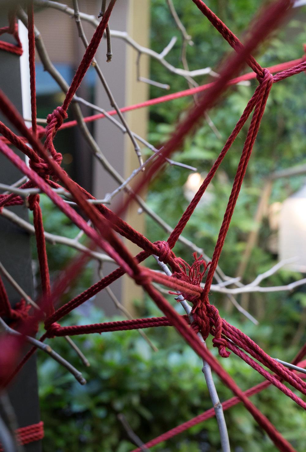 The Red Garden / Hôtel Mandarin Oriental Paris   L'Agence Christophe Gautrand & Associés imagine une installation végétale insolite, mélangeant subtilement l'univers élégant et avant-gardiste de Tanqueray au Shibari.