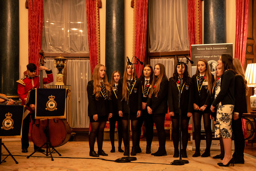 Lossiemouth High School sing  The Sky's The Limit  at the Never Such Innocence book launch at Buckingham Palace