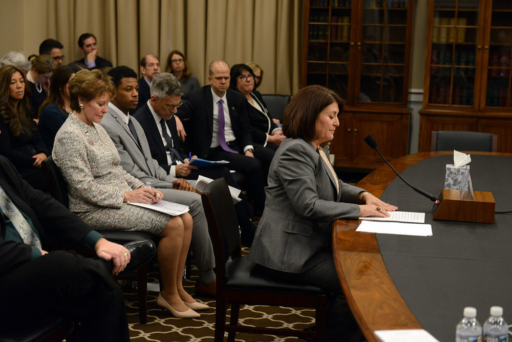 President Donna Meltzer testifies before the Labor, Health and Human Services, and Education Appropriations Subcommittee.