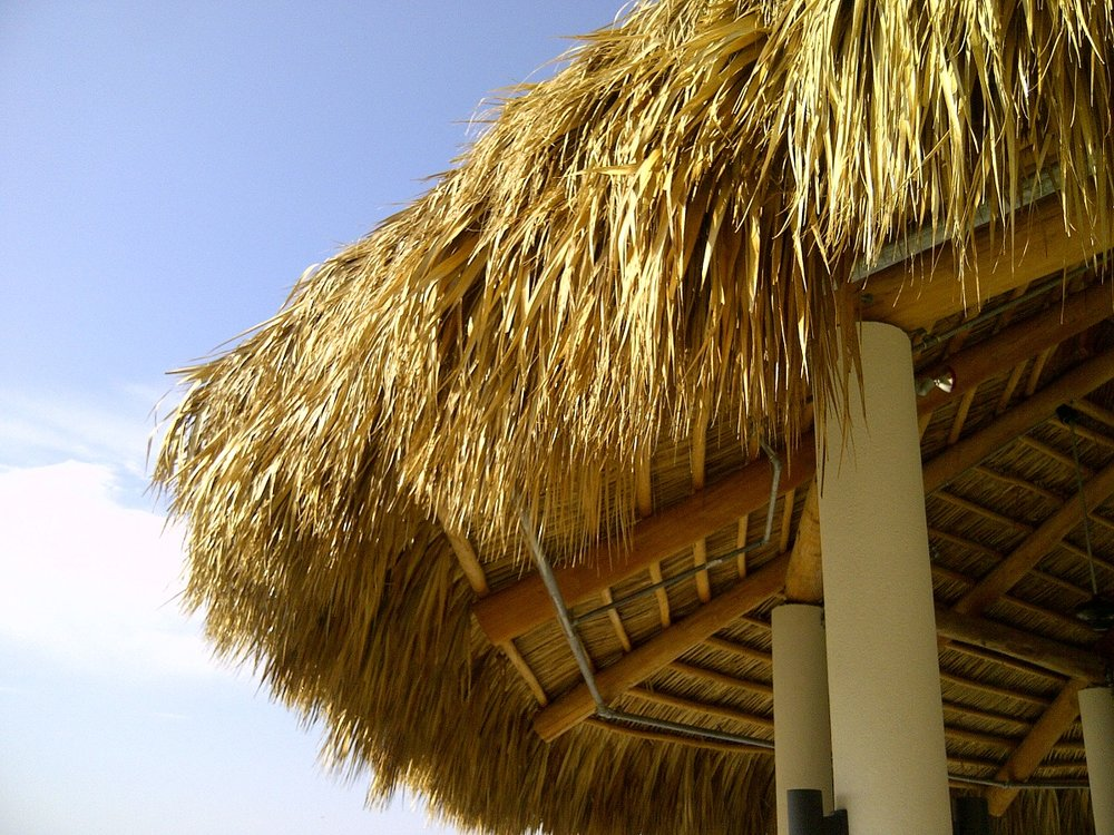Tiki thatch roof treated with FX Lumber Guard XT.