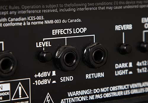 Boucle d'effets: connecter des pédales d'effets   L'ampli dispose d'une boucle d'effets pour vous permettre de connecter des pédales d'effets ou d'autres équipements professionnels en utilisant les connexions send et return.