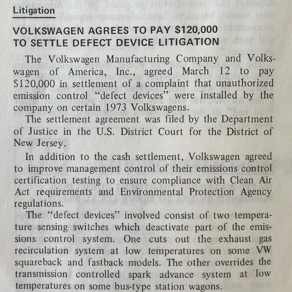 file under: regulation, defeat device; and also: history, second time as farce      Environment Reporter, 1973