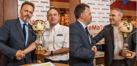 Mike Morgan and Thijs Jasink collect their awards. Photos courtesy of ReMaTecNews
