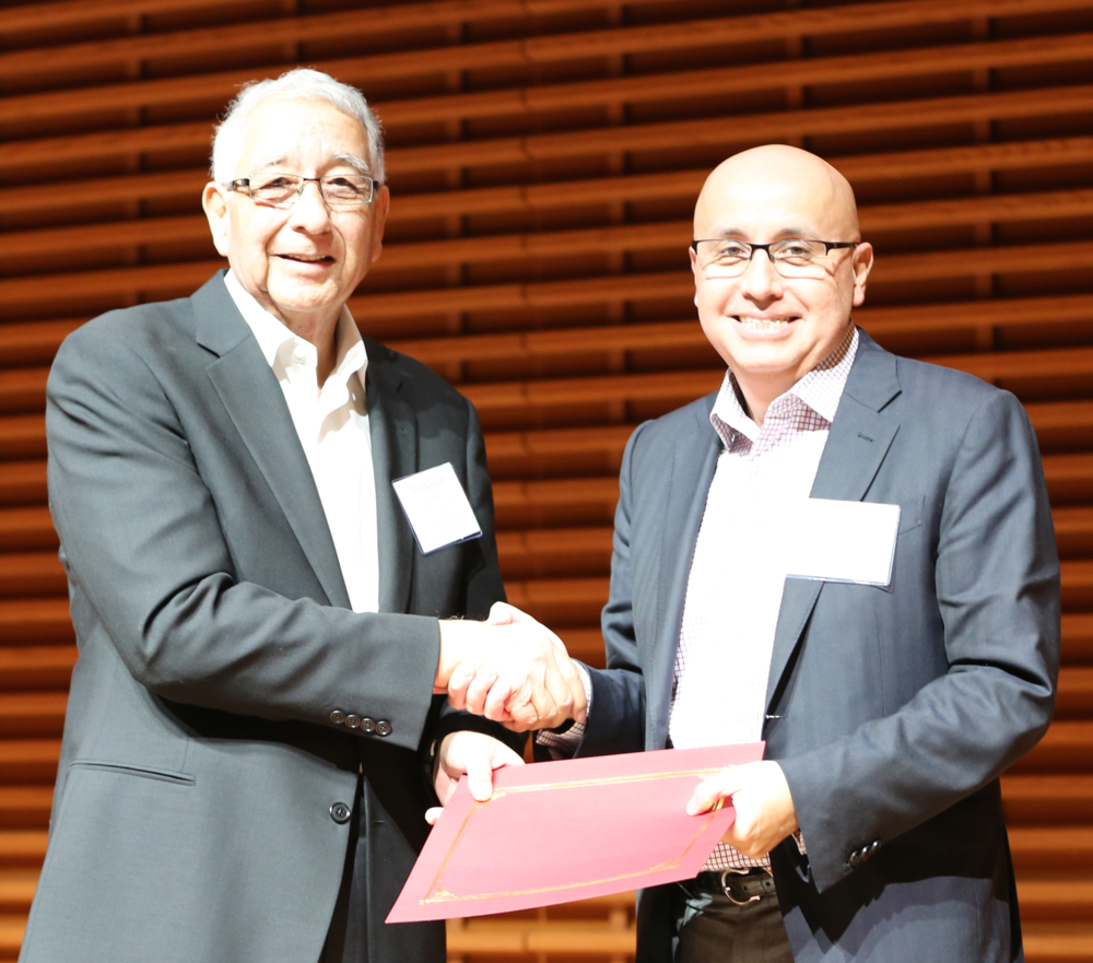 MILTON PEDRAZA (RIGHT) WITH 'GOOD TO GREAT' CO-AUTHOR DR. JERRY PORRAS (LEFT) AT STANFORD BUSINESS SCHOOL