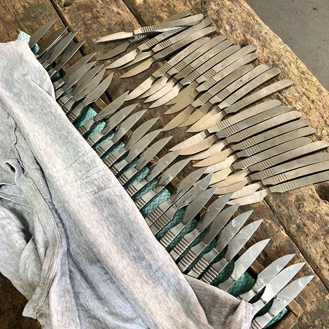 We're gonna need a bigger bench. . . . . #benchmade #handmadeknives #handmadeknife #steakknife #sheffieldsteel #stainlesssteel