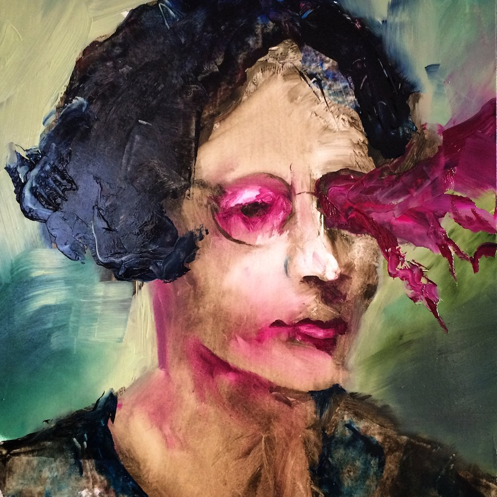 Simone Weil, 2018 Oil on Paper 28x28 cm (Available for Sale)