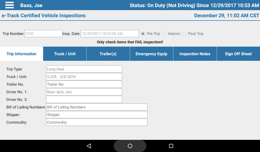 Trips and Inspections - Need to set up a trip? Perform a vehicle inspection? This is the place to go. The Trips and Inspections screens will let you create trips, perform pre-trip, interim, and post-trip inspections, and close out your trips, all within the app.