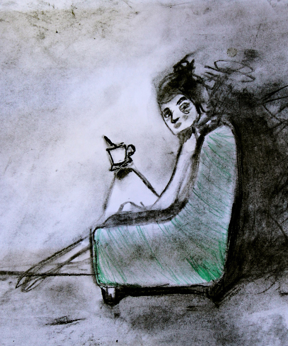 Kvinnan med koppen.   Kolteckning av Ida Gust.