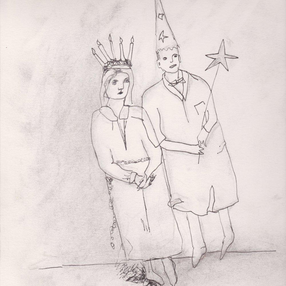 Lucia och stjärngosse in progress.