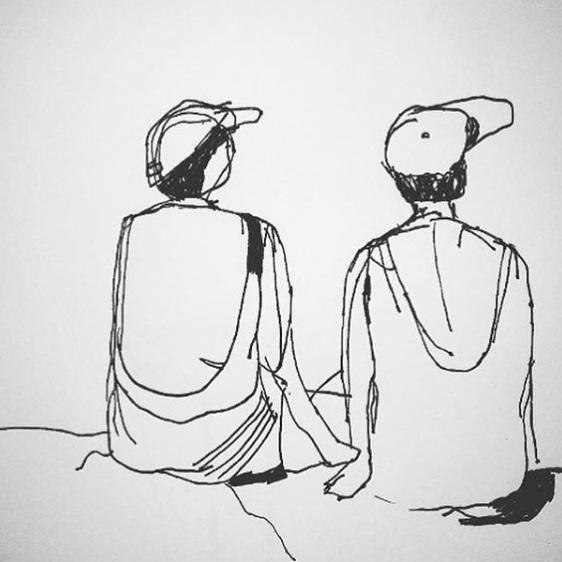 Två tanter som satt på stranden när jag var på Teneriffa för några veckor sedan. Still in progress. Ska jag måla denna i färg tro?