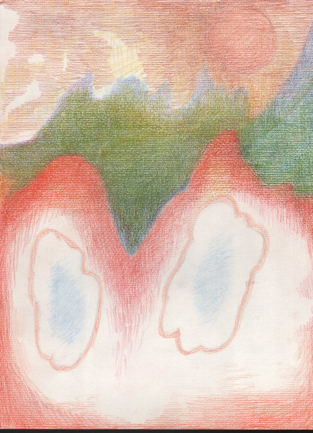 Eyes in the Mountain, 2016, 12 x 9 inches, pencil on paper