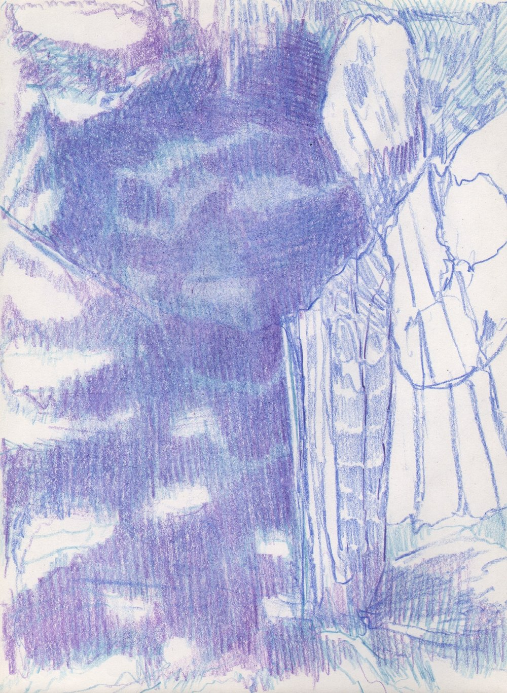 Blue Light, Shadow Creature, 2015, 8 x 6 inches, pencil on paper