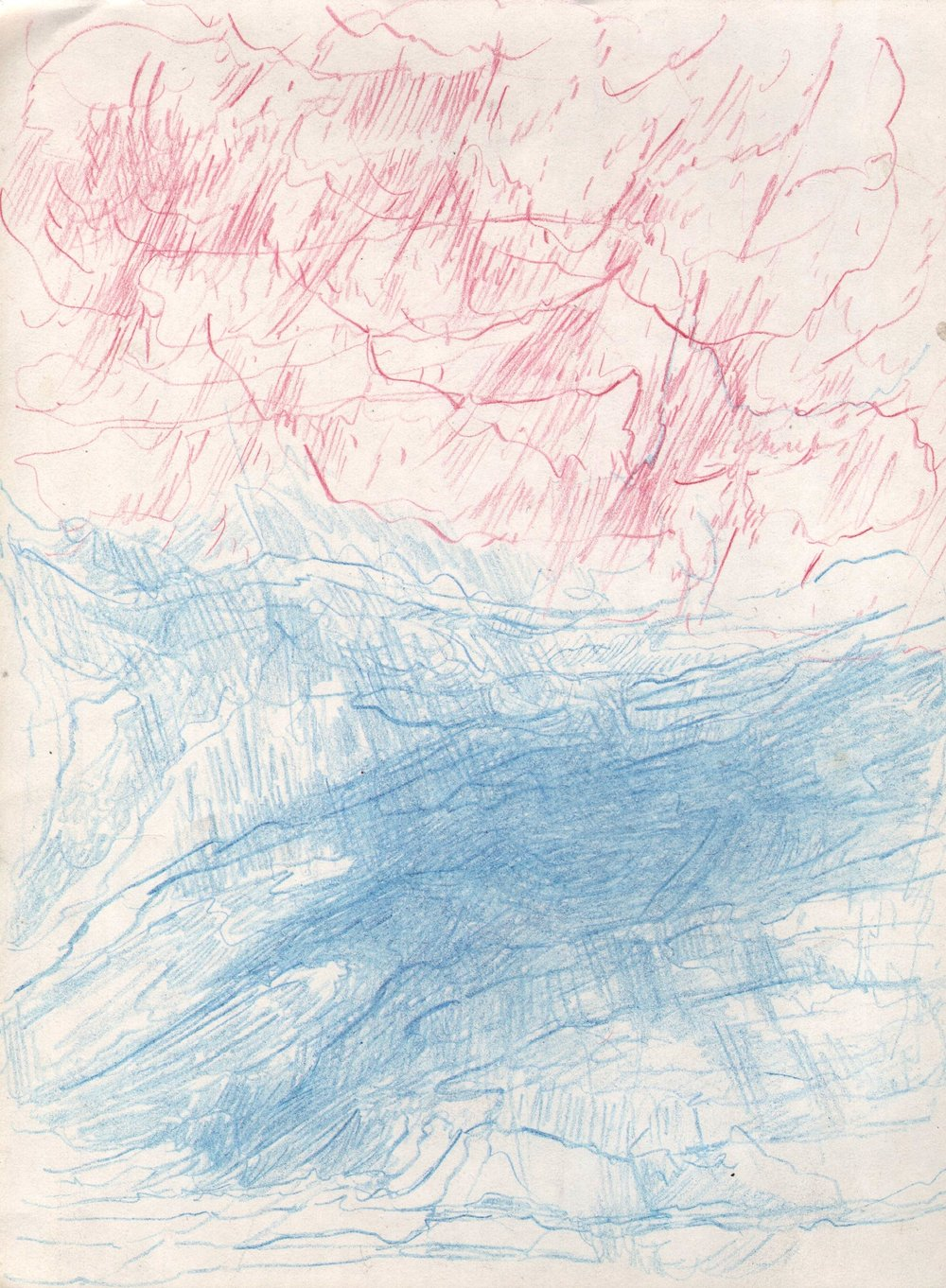 Red Rain, Blue Canyon, 2015, 8 x 6 inches, pencil on paper
