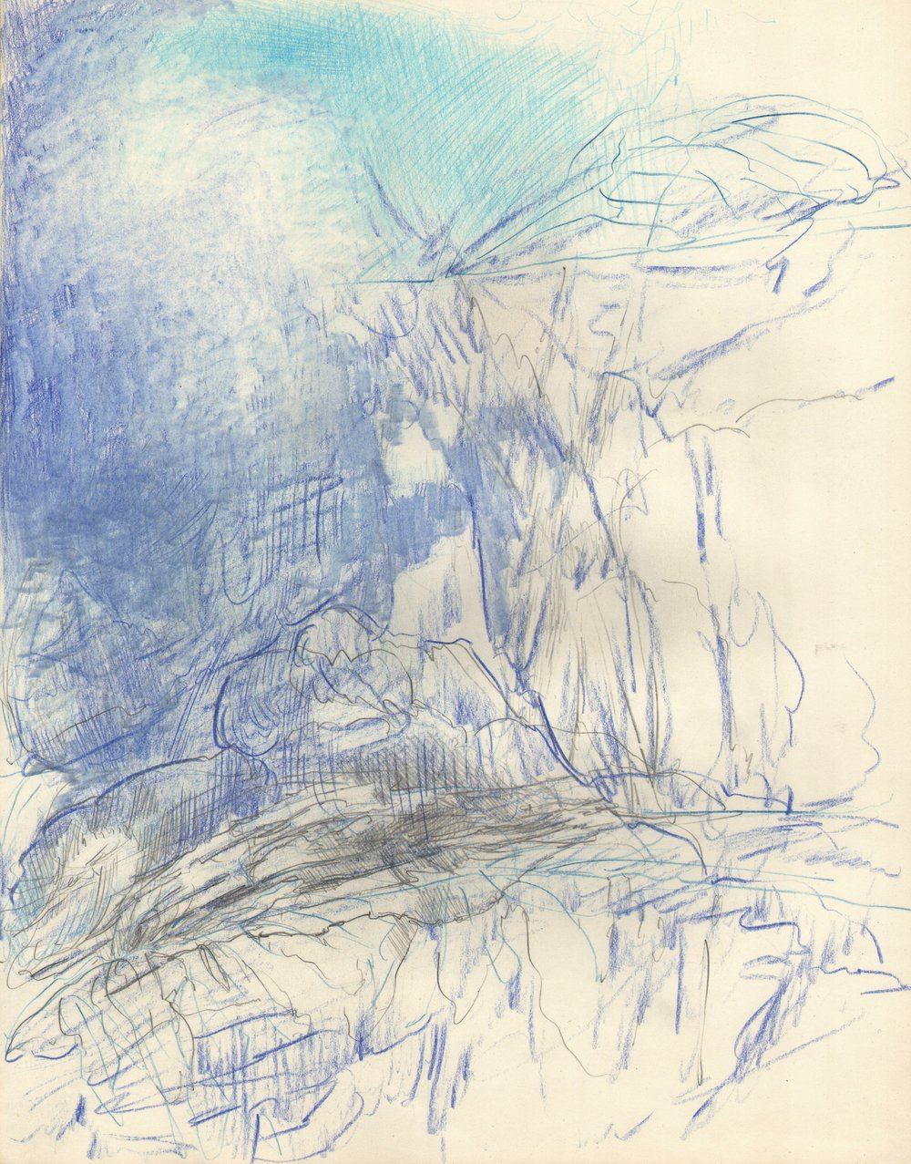 Blue Light Descending, 2015, 14 x 11 inches, pencil on paper