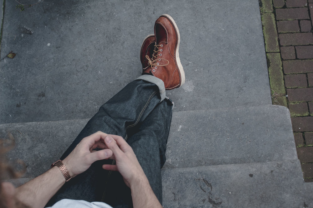 """Classic Red Wing Shoes Moc Toe Oro Legacy 875 6"""""""