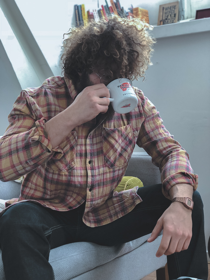 Flannel shirt and red wing coffee