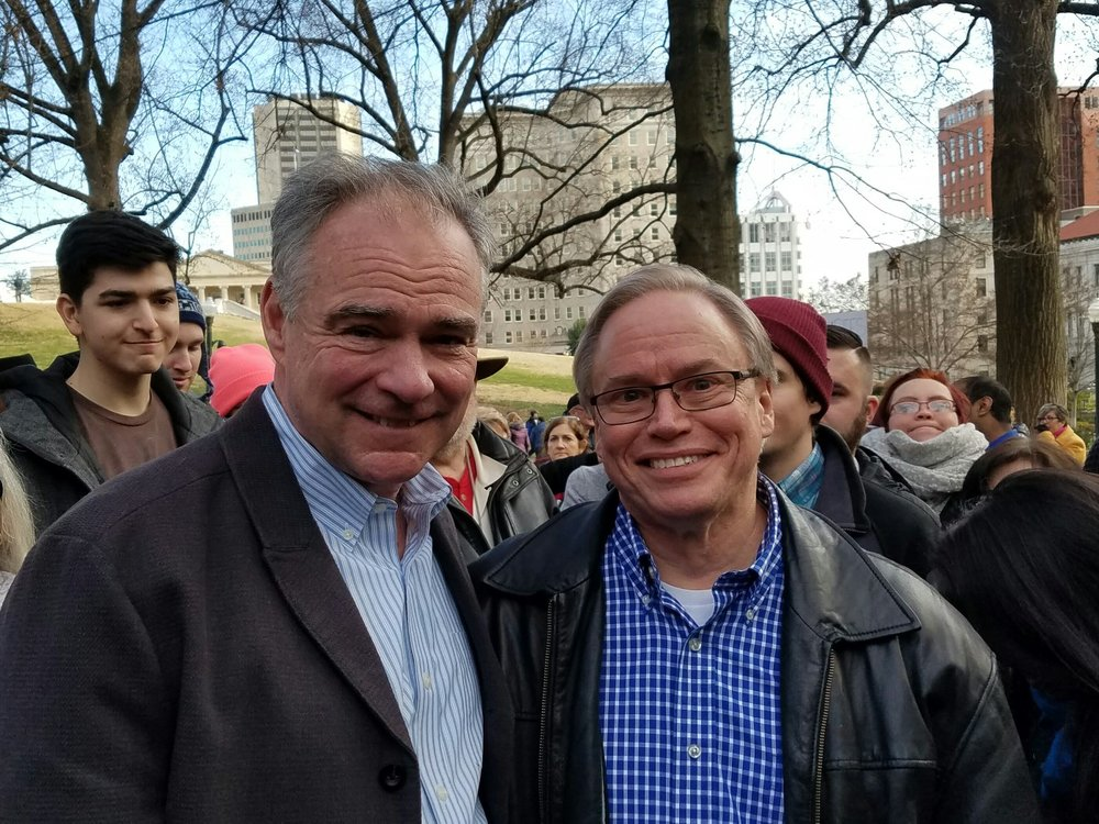 This picture is if me with former vice-presidential candidate and Senator Tim Kaine at a Richmond Medicaid expansion rally last summer.