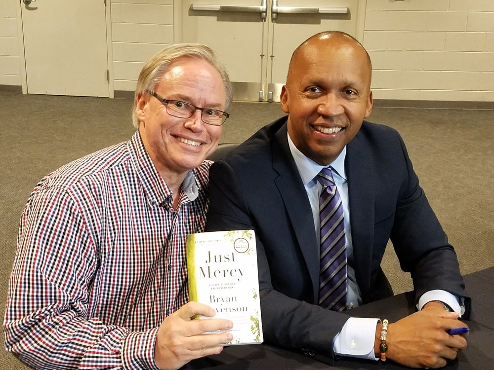 Bryan Stevenson, founder of the Equal Justice Institute and me, at VCU in Richmond, VA. 2017.