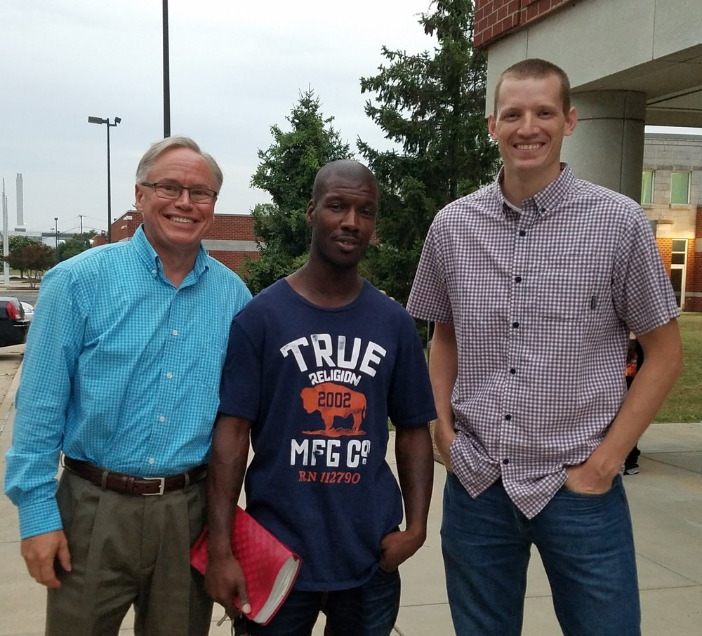 Me, with two of my Cross and Bars volunteers, Antoine Prince and Michael Jenkins, at the Richmond Juvenile Detention Center.