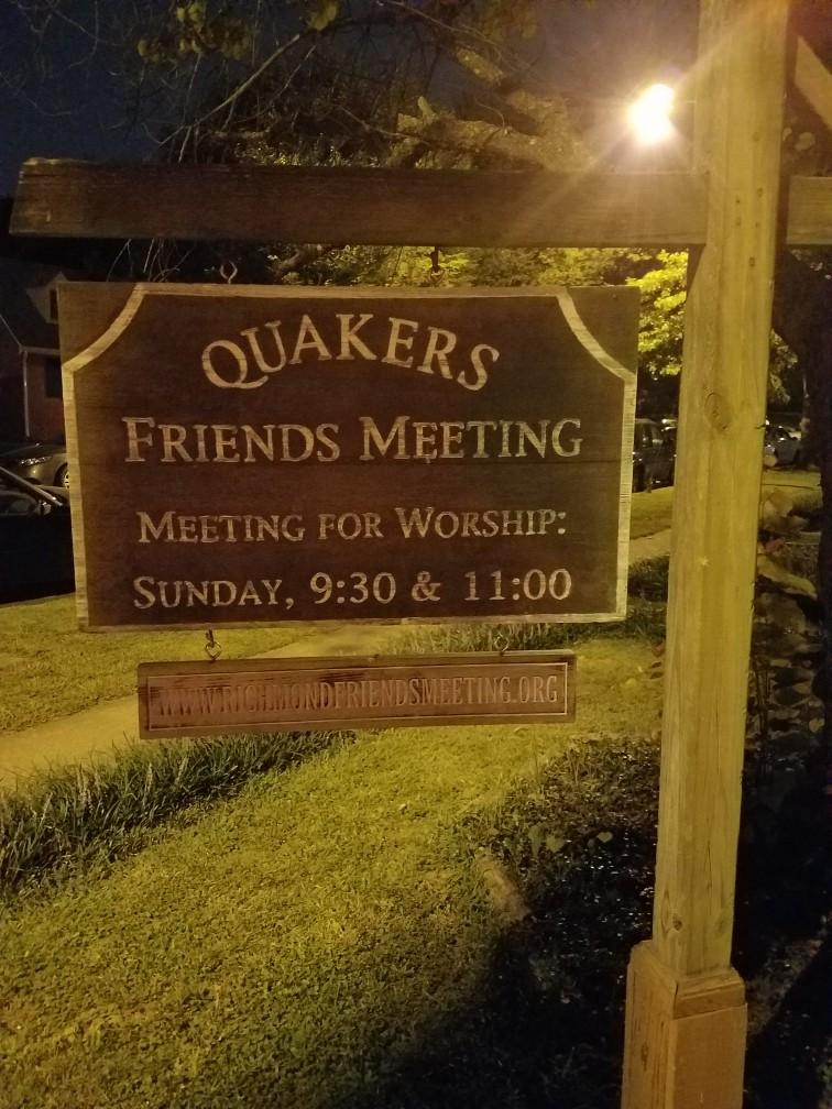 This is the little Quaker Church where the Richmond Peace Group meets.