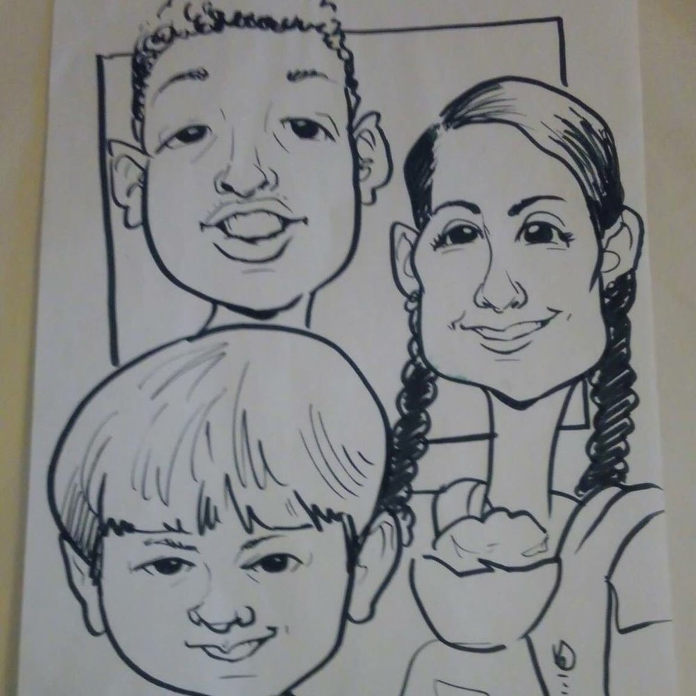 I love this  caricature done of myself, and my oldest two kids Murphey and Avery (plus the   baby in the baby carrier). It was done at the St. Patrick's  Irish Festival in Church Hill, Va March   2017. This is how I view myself, and my family, as plain old people. I love   how we are not attached to any grouping of race or color in this photo, we   are just happy people.