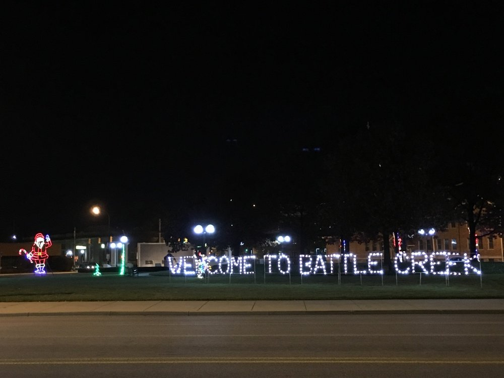 How I see my  community: Entrance to downtown Battle Creek from M-66 North during Festival of Lights -  Battle Creek is a   welcoming community with a diverse population